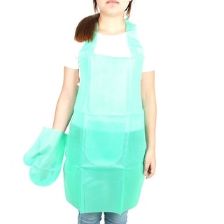 Household Restaurant Non-woven Fabric Cooking Apron Bib Dress Glove Turquoise
