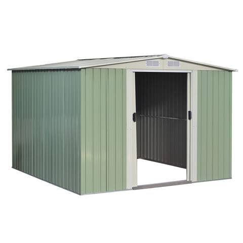 Costway 8.5x8.5FT Outdoor Garden Storage Shed Tool House Sliding Door Galvanized Steel Green