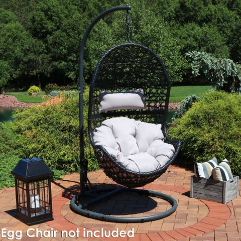 """Sunnydaze Egg Chair Stand with Round Base - Powder-Coated Steel - 76 """" Tall"""