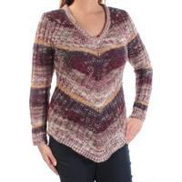 ULTRA FLIRT $24 Womens New 1272 Burgundy Gold Striped Sweater L Juniors B+B