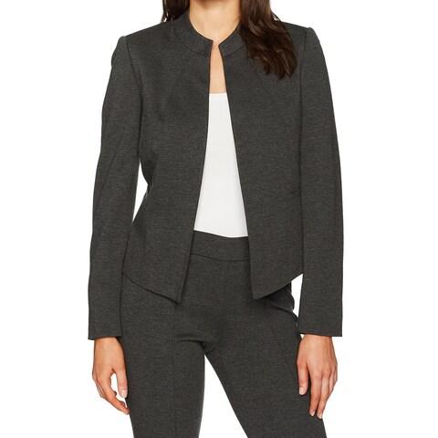 Kasper Gray Women's Size 14 Ponte Collarless Flyaway Blazer Jacket