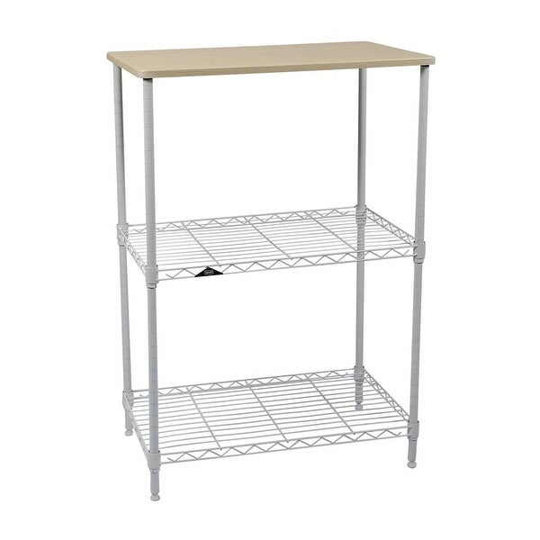 """Apollo Hardware 3-Tier White Wire Shelf with Wood on Top Tier 14""""x24""""x36"""""""