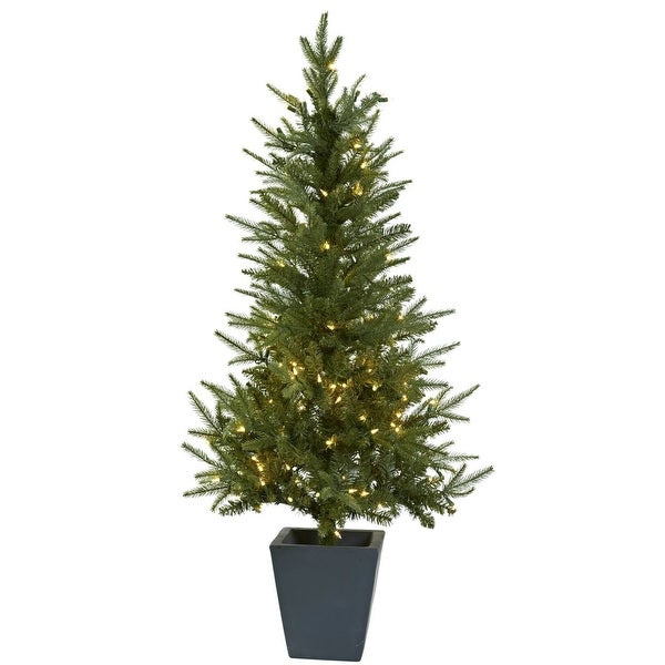 Nearly Natural Home Decor 4.5' Christmas Tree W/Clear Lights & Decorative Planter