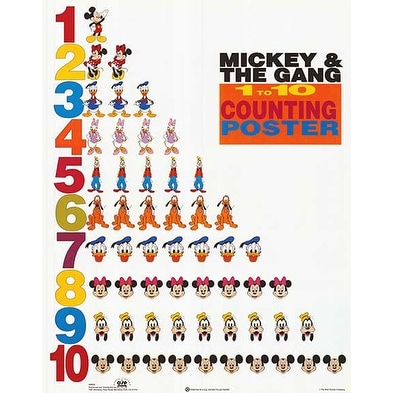 ''Mickey & Friends: 1 to 10 Counting Poster'' by Walt Disney Walt Disney Art Print (20 x 16 in.)