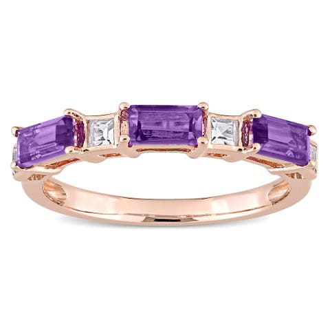 Miadora 10k Rose Gold Baguette & Square Amethyst & White Topaz Stackable Eternity Wedding Band Ring