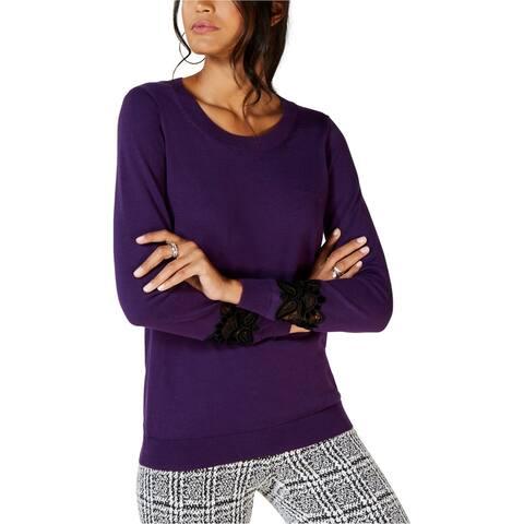 Michael Kors Womens Velvet Lace Pullover Sweater, purple, P