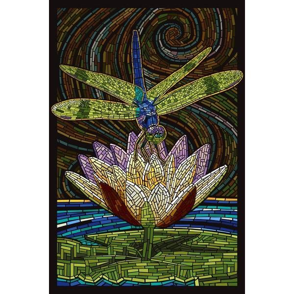 Dragonfly - Paper Mosaic - LP Artwork (Acrylic Wall Clock)