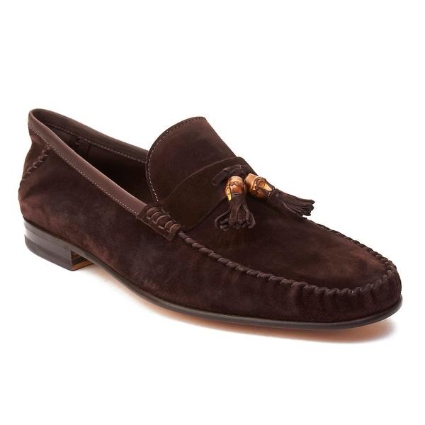 Gucci Men's Suede Tassle Loafer Shoes Dark Brown