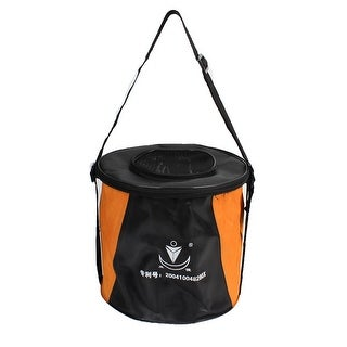 """Unique Bargains 9.5"""" x 8"""" Nylon Cylinder Shape Portable Folding Water Bucket Camping Outdoor Fishing Black"""