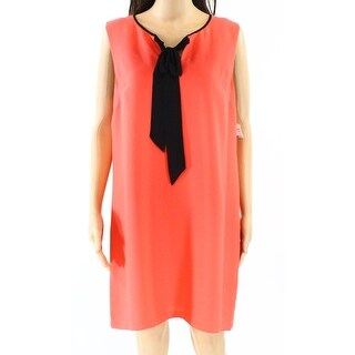 CeCe NEW Orange Black Womens Size 12 Tie-Front Keyhole Shift Dress