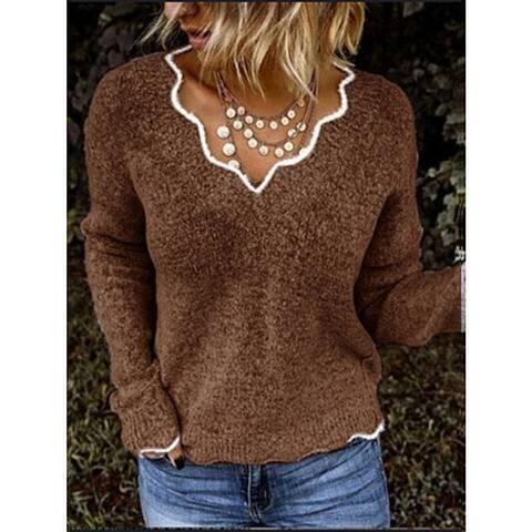 Wave Collar Block Holiday Sweater