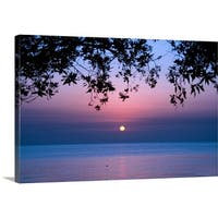Premium Thick-Wrap Canvas entitled Tree branches and sunrise over sea.