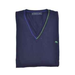 Etro Navy Pure Wool Duo Tone Border V Neck Sweater