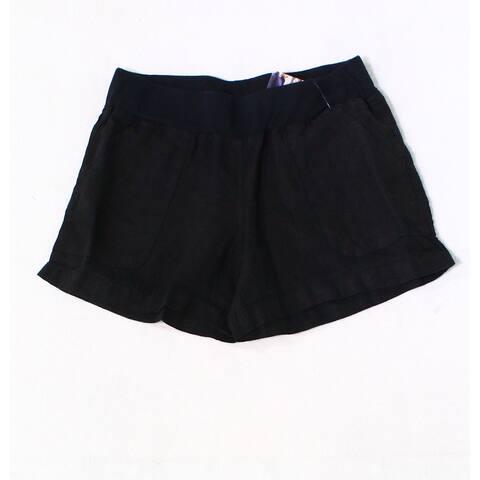 Allen Allen Deep Black Womens XS Linen Pull On Four Pocket Shorts