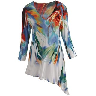 Women's Tunic Top - Art Nouveau Bright Brushstrokes - Red & Blue (Option: 3x)