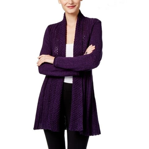 NY Collection Womens Sweater Purple Size Large L Cardigan Open-Front