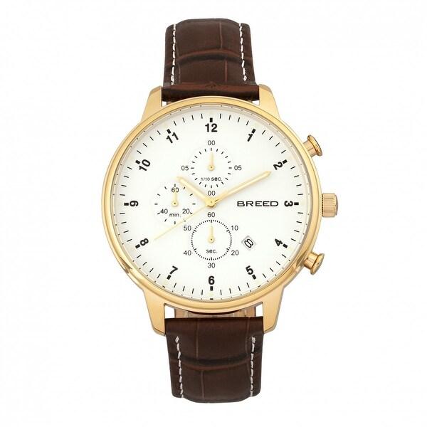 Breed Holden Men's Quartz Chronograph Watch, Genuine Leather Band, Luminous Hands