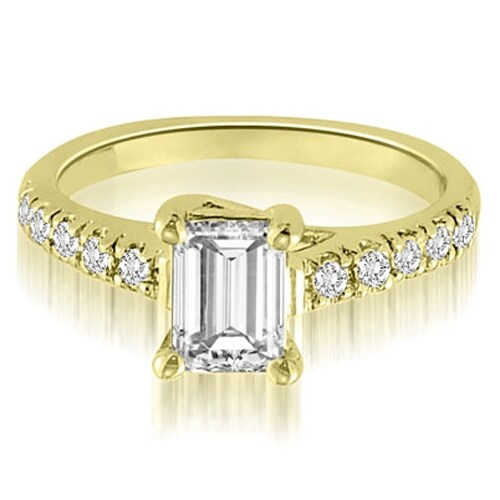 0.95 cttw. 14K Yellow Gold Petite Emerald And Round Cut Diamond Engagement Ring