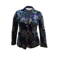 Tahari ASL Women's Printed Velvet One-Button Blazer