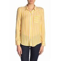 Abound Yellow White Womens Size Small S Button Down Stripe Top
