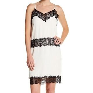 CAD NEW White Ivory Womens Size Large L V-Neck Lace-Trim Slip Dress
