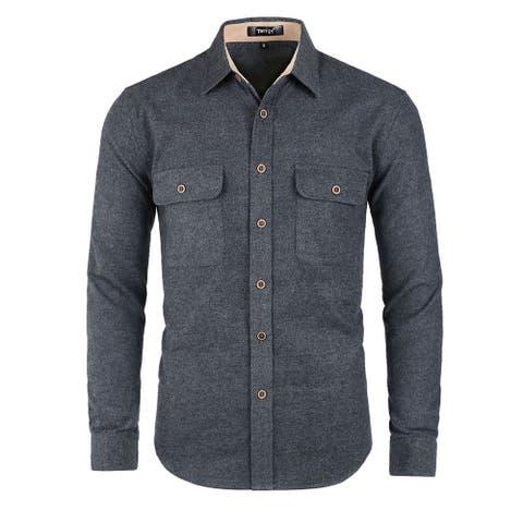 Men Casual Brushed Long Sleeve Button Down Cotton Shirt XXL Dark Gray - Dark Gray