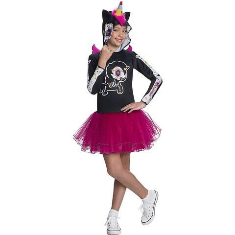Tokidoki Dia De Los Muertos Caramelo Unicorno Hooded Child Costume Dress - Purple