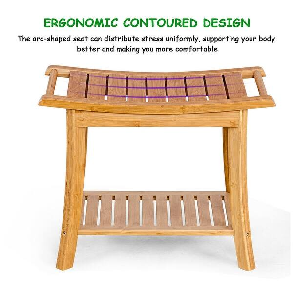 Bamboo Shower Bench Seat With Handles And Storage