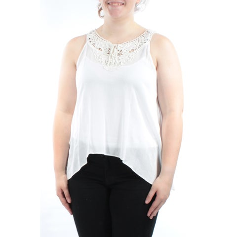 BCX Womens White Tie Sleeveless Zip Neck Top Juniors Size: XL
