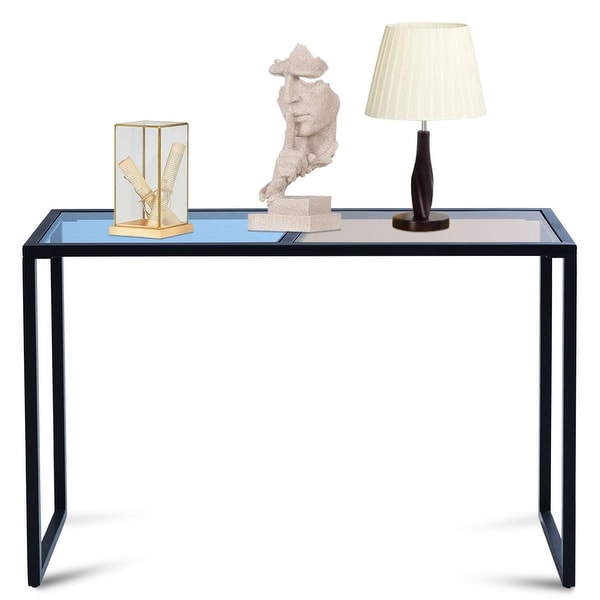 Costway Console Table Tempered Glass Top Metal Frame Hallway Entryway Home Furniture - blue and tan