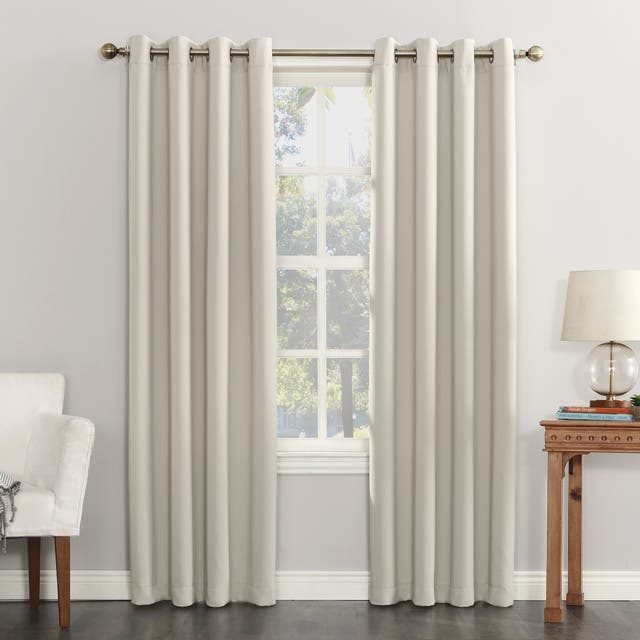 Sun Zero Hayden Energy Saving Blackout Grommet Curtain Panel, Single Panel - 54 x 63 - Pearl