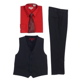 Gioberti Red Black Vest Pants Striped Tie Shirt 4 Pc Formal Set