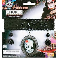 Day Of Dead Lace Choker Costume Necklace - Black