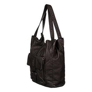 Roxy Womens Fork In The Bay Embellished Faux Leather Shoulder Handbag - true black - Large