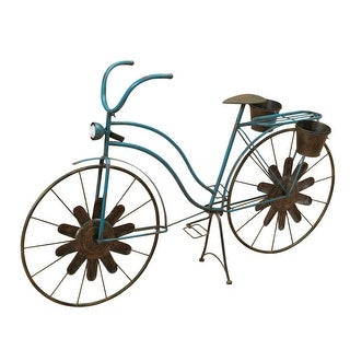 """53"""" Blue and Brown Antique Style Solar Light Bicycle Planter - N/A"""