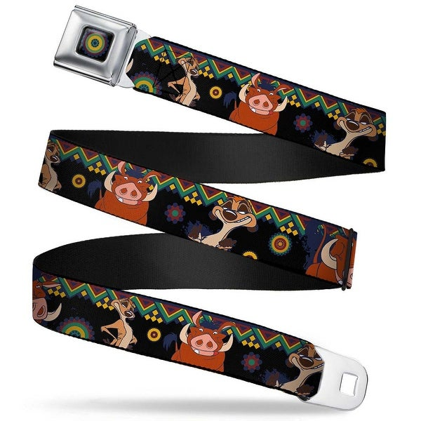 Lion King Aboriginal Full Color Black Navy Burgundy Green Timon & Pumba Seatbelt Belt