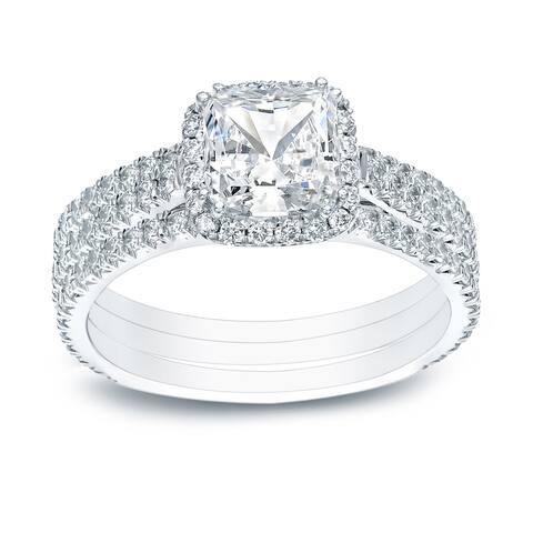 Auriya 14k Gold Halo Diamond Engagement Ring and Wedding Band Set