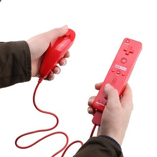 Built in Motion Plus Remote + Nunchuck Controller Case for Wii Red