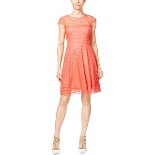 Jessica Simpson Womens Casual Dress Lace Cap Sleeves