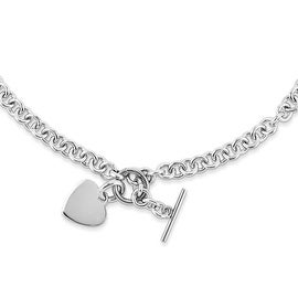 Chisel Stainless Steel Polished Heart Toggle Necklace - 18 in