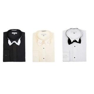 Men's Wingtip Collar Pleated Tuxedo Shirt Bow Tie