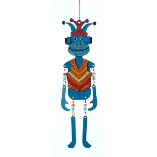 """8.25"""" Glittered Blue Monkey with Dangle Arms and Legs Christmas Ornament"""