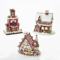 "Pack of 3 LED Light Gingerbread Cookie House Decorative Tabletop Piece 9"" - brown"