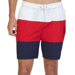 Nautica NEW Red White Navy Mens Size XL Colorblocked Swimwear Trunks