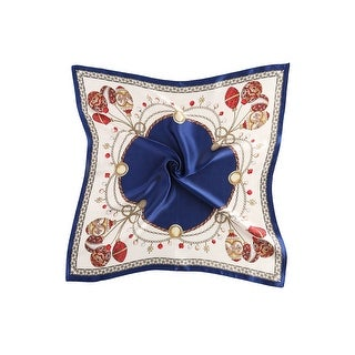 Link to Women Fashionable  Print 100% Silk Square Scarf - Navy Festival Similar Items in Scarves & Wraps