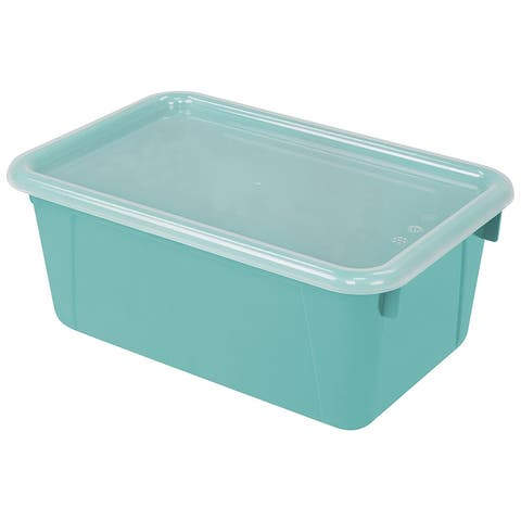 Storex small cubby bin with cover teal 62412u06c