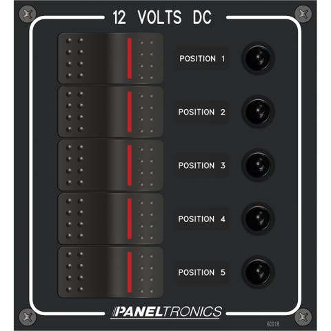 Paneltronics dc 5 position illuminated rocker switch 9960018b