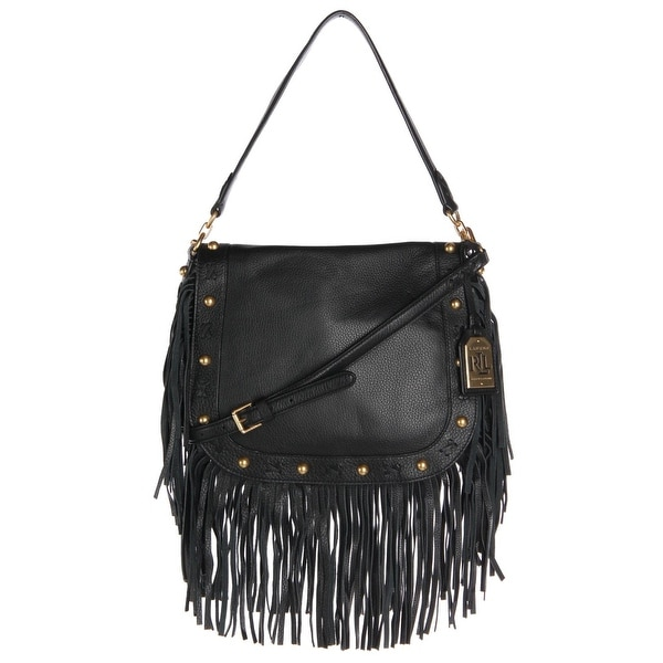 79a30310ef Lauren Ralph Lauren Womens Woodbine Layla Crossbody Handbag Leather Fringe  - LARGE
