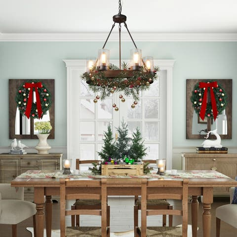 Carbon Loft Farmhouse 6-light Wood Wagon Wheel Chandelier with Glass Shade for Dining Room