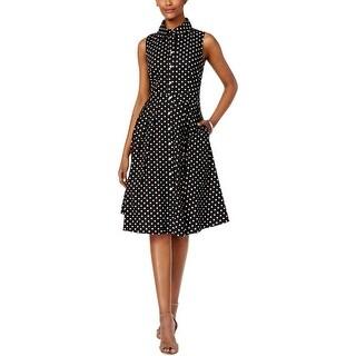 Jessica Howard Womens Petites Casual Dress Polka Dot Pleated